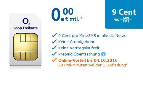 Loop Freikarte Gratis:  O2 Prepaid SIM Karten mit 1€ Startguthaben