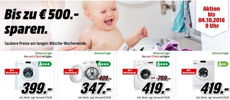 Media MArkt Waschmaschinen Rabatt Waschmaschinen & Trockner bei Media Markt bis zu 500€ Rabatt!