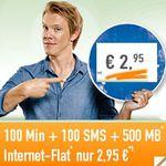 Vodafon VF500 Vertrag: 100Minuten + 100SMS + 500MB Daten Flat für nur 3,16€ mtl.