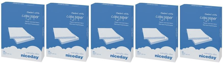 Niceday Kopierpapier   5 Packs à 500 Blatt 75g/qm DIN A4 (Drucker Fax Kopierer) für 14,99€
