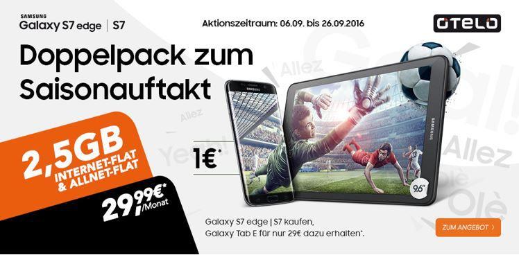 2,5 GB otelo Allnet u. SMS Flat + Samsung S7 + Galaxy Tab E  für 29,99€ mtl.