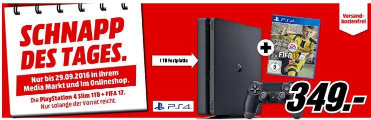 PS 4 Pro Fifa17 SONY PlayStation 4 Slim Konsole 1TB Schwarz + FIFA 17 für 349€