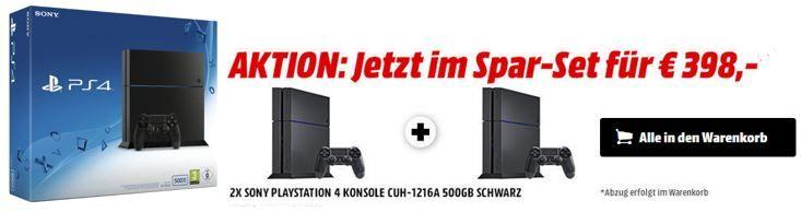 PS4 Bundle Knaller1 2x Playstation 4 für 398€ (nur 199€ pro Konsole)   ab sofort Online   HOT
