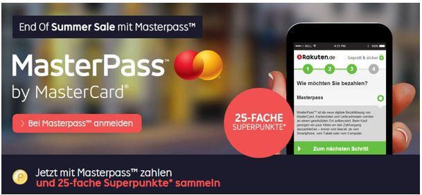 Rakuten Master Pass Aktion Tipp! 25fach Rakuten Superpunkte bei Zahlung mit Masterpass