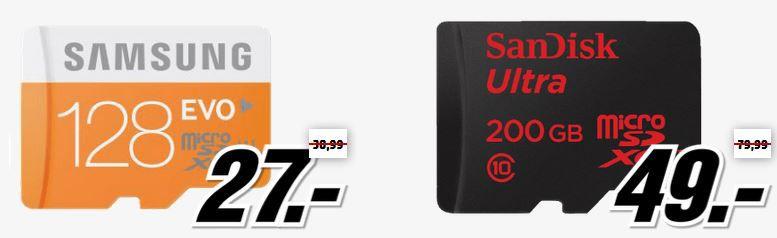 Samsung 128GB micro SD Samsung EVO microSDXC 128GB für 27€   Media Markt Speicher Tiefpreisspätschicht