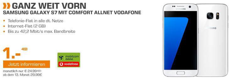 Samsung S7 Aktion Samsung Galaxy S7 +  Galaxy Tab E 9.6 + Vodafon Allnet  + 2 GB Flat ab 29,90€ mtl.