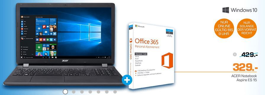 Saturn Notebook Aktion Acer Aspire ES1 571 37DA    15,6 FullHD Notebook mit i3 und 1TB HDD + Office für 329€