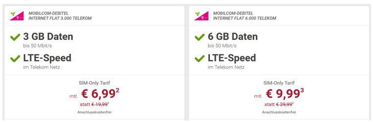 3 GB Telekom für 6,99€ mtl. oder 6 GB für 9,99€