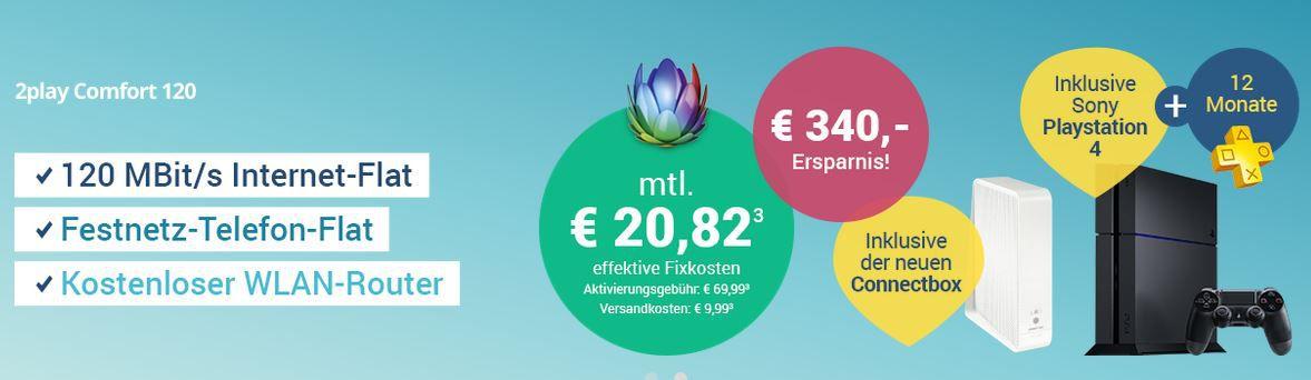 Sparkabel Angebot Sparkabel 120 Mbit/s + Festnetz Flat für eff. 16€ mtl. oder mit PS4 für 22€ mtl.