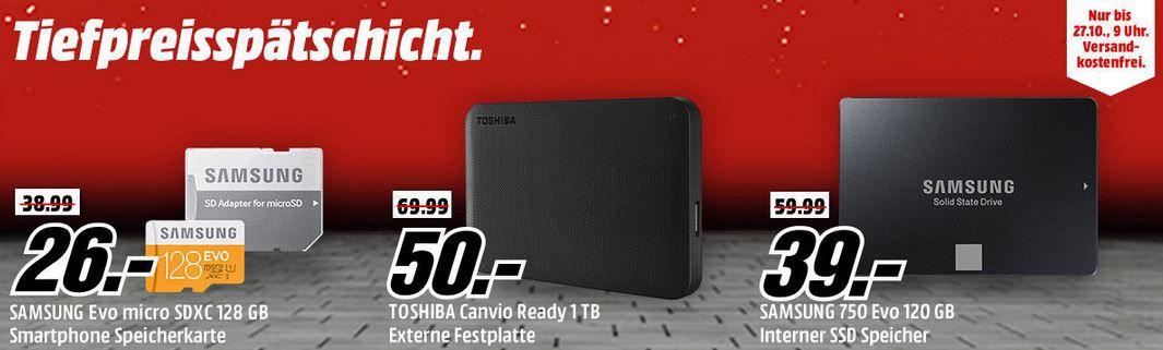 Speicherangebote Media Markt 26.10.2016 SAMSUNG EVO 128 GB microSD für 26€   Media Markt Speicher Tiefpreisspätschicht