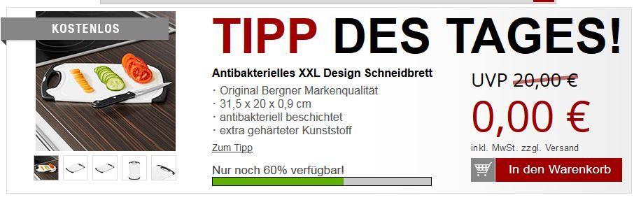 Bergner Antibakterielles XXL Design Schneidbrett + 2 Gratisartikel für nur 5,97€ Versandkosten