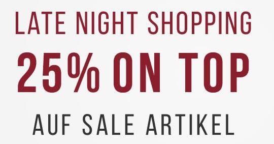 Tom Tailor Late Night Shopping mit 25% Extra Rabatt auf den SALE bis Mitternacht!