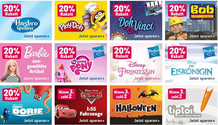 Toyßs rabatt 20% Rabatt bei ToysRUs   z.B. Bob Baumeister, Barbie, Play Doh ...