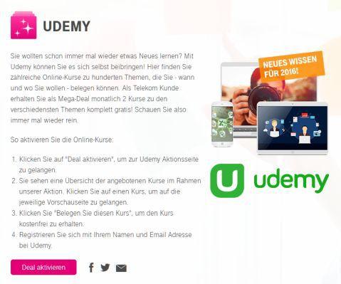 Nur für Telekom Kunden: Monatlich 2 Udemy Kurse kostenlos