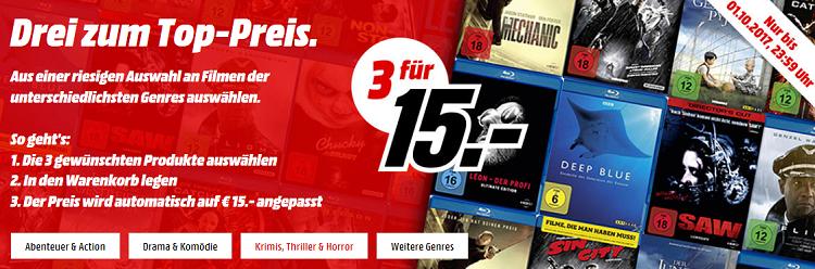 Media Markt: 3 Filme für 15€