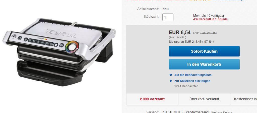 Ausverkauft! Tefal GC702D Optigrill, 2000 W für 6,54€
