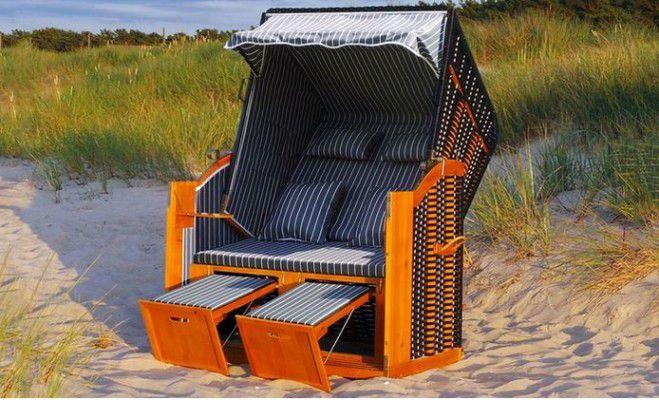 Luxus Strandkorb Rügen mit 2 Klapptischen ab 253€