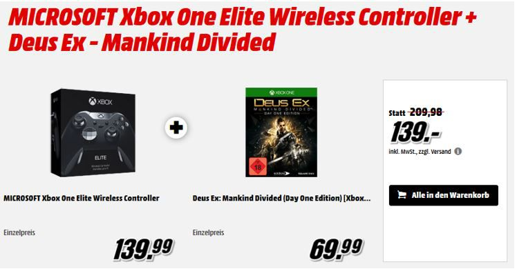 Xbox One Elite Wireless Controller + Game Deus Ex: Mankind Divided ab 139