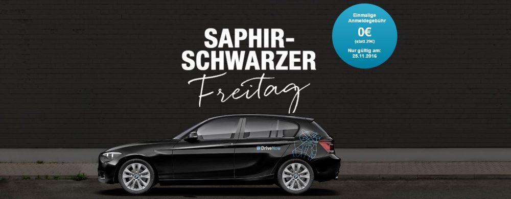 DriveNow Anmeldung 0€ statt 29€  + Chance auf 100 Freiminuten   Black Freitag Aktion