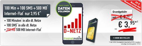 Vodafone freeSmart 500 inkl. 500 MB, 100 Freiminuten &  SMS ab 3,95€ mtl. (monatlich kündbar!)