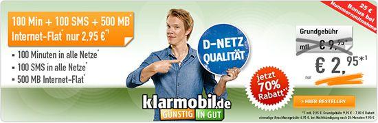 ga3400 295 01 klarmobil Smart Flat im Vodafone Netz für 3,16€ monatlich