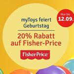 20% Rabatt auf Fisher-Price-Artikel bei myToys