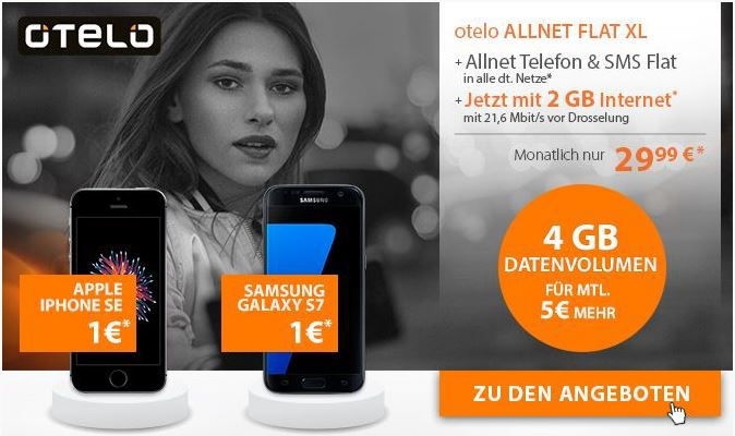 o T ello Vertrag Apple iPhone 6s 32GB + Otelo Allnet + SMS Flat + 2GB Daten für 33,28€