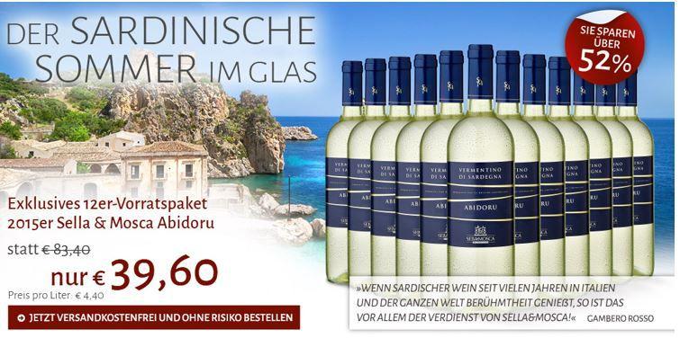 Sella & Mosca Abidoru 2015   12 Flaschen sardischer Weißwein für nur 39,60€