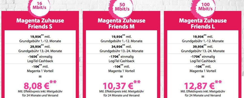 Telekom Magenta DSL Tarife   12 Monaten für19,95€/Monat + bis zu 170€ Cashback + Magenta Vorteil ( 10€/Monat)