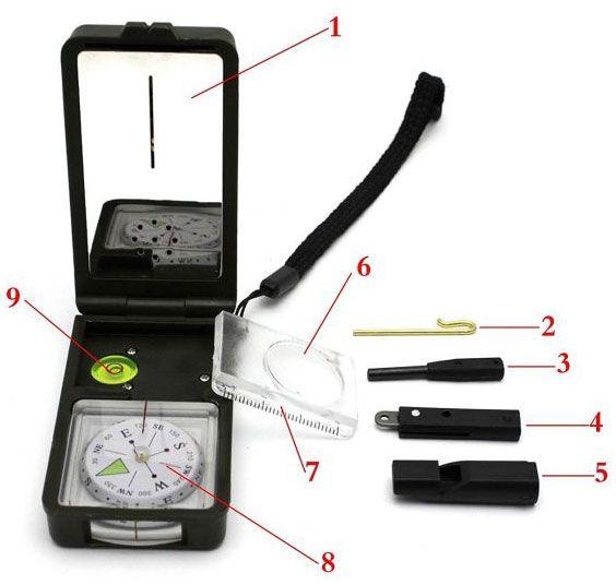 10 in 1 Outdoortool mit Kompass, Thermometer, Lupe... für 3,84€