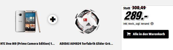 289 HTC One M9 Smartphone + adidas Fußball für 289€ (statt 359€)