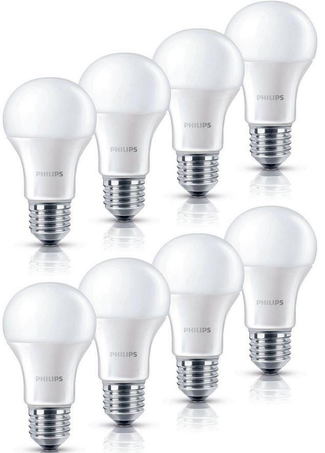 8er Pack Philips LED Lampe 9 Watt 8er Pack Philips LED Lampe 9 Watt (wie 60W) E27 warmweiß für 23,99€ (statt 32€)
