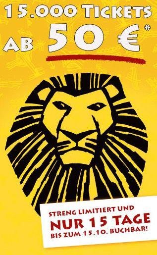 König der Löwen Tickets ab 50€ bei Bild.de   nur 15.000 Stück