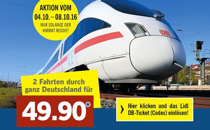 Bildschirmfoto 2016 10 03 um 14.11.00 LIDL DB Tickets: 2 Fahrten (2. Klasse) durch ganz Deutschland für 49,90€