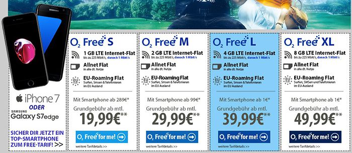 Neue o2 Tarife (mit 1 Mbit/s Drosselung) + iPhone 7 oder Galaxy S7 Edge + Allnet Flats & LTE ab 19,99€ mtl.