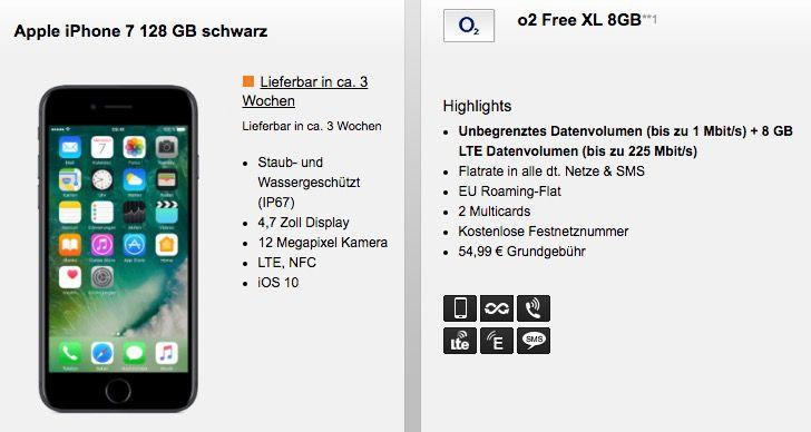iPhone 7 128GB ab 1€ + o2 Free XL 8GB LTE ab 49,99€ mtl.