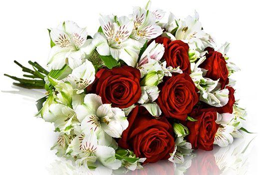 7 Red Naomi Rosen und 7 weiße Alstromerien für 18,90€