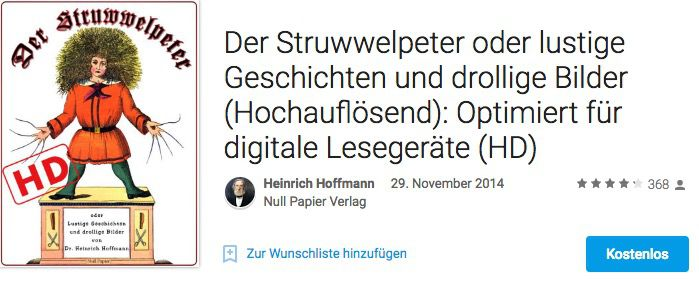 Bildschirmfoto 2016 10 07 um 09.04.31 Der Struwwelpeter gratis als HD eBook