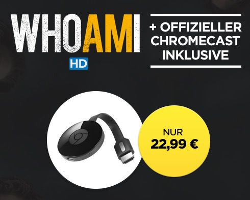Google Chromecast 2 + Who Am I (Leihversion) in HD für 22,99€ (statt 33€)