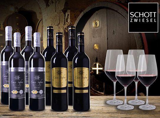 8 Flaschen Gran Reserva + 4 Rotwein Gläser für 44,90€   alle Weine prämiert!