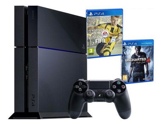 Playstation 4 500GB + Fifa 17 + Uncharted 4 für 240€ (statt 317€)