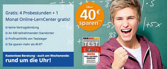 Schülerhilfe: 4 Probestunden + 1 Monat Online Lerncenter gratis (Wert 40€)