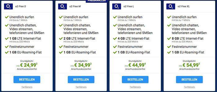 o2 Free LTE Tarife ab 24,99€ mtl. + Galaxy S7 Edge ab 4,95€ + Kombi Vorteil
