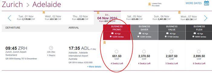 Zürich nach Adelaide (Australien) und zurück in Business Class von Qatar Airways ab 1.200€ (statt mind. 1.700€)