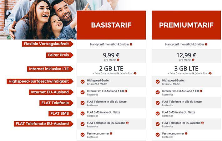 Update! o2 Tarife (mtl. kündbar) mit Allnet Flat & bis 3GB LTE ab 9,99€ mtl. + gratis Abos