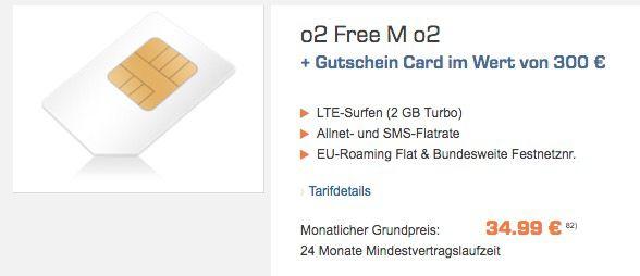 o2 Free M mit 2GB LTE + unbegrenzt Surfen + 300€ Saturn Gutschein für 34,99€ mtl.