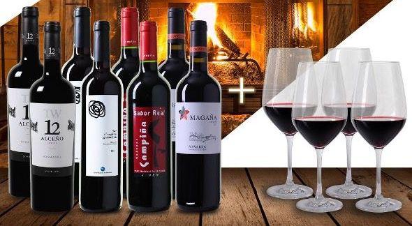 8 Flaschen Robert Parker Weinpaket + 4 Gläser für 59,90€