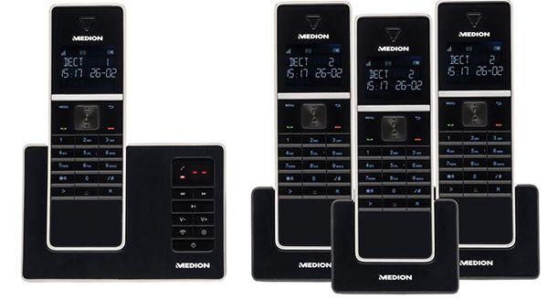 4er Set Medion Life P63994 DECT Schnurlos Telefone + Anrufbeantworter für 69,95€ (statt 90€)
