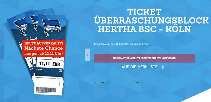 Morgen ab 11:11 Uhr: Hertha BSC vs. 1. FC Köln Tickets für 11,11€   Überraschungsblock!