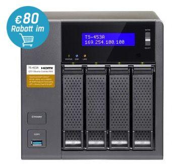 Vorbei! QNAP TS 453A 8G 4 Bay Leergehäuse für 374€ (statt 529€)